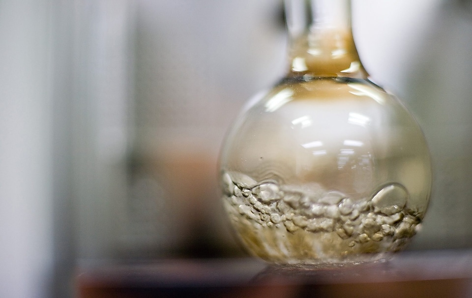bubbling lab flask